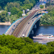 View of Metro bridge over Dnieper, Kiev, Ukraine - Stock Photo