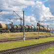 Classification of tank cars by pushing over a hump — Stock Photo