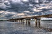 Paton Bridge across the Dnieper river. Kiev, Ukraine — Stock Photo