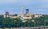 Kiev Pechersk Lavra Orthodox Monastery. View from the Paton Brid — Stock Photo