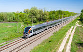 Modern fast passenger train in Ukraine — Stock Photo