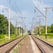 Double-track electrified (25 kV, 50 Hz) railway line — стоковое фото #13436486