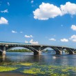 View of Dnieper river and Metro bridge in Kiev, Ukraine — Foto Stock