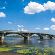 View of Dnieper river and Metro bridge in Kiev, Ukraine — Foto de Stock