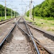 Railroad switch at a station — Stock Photo
