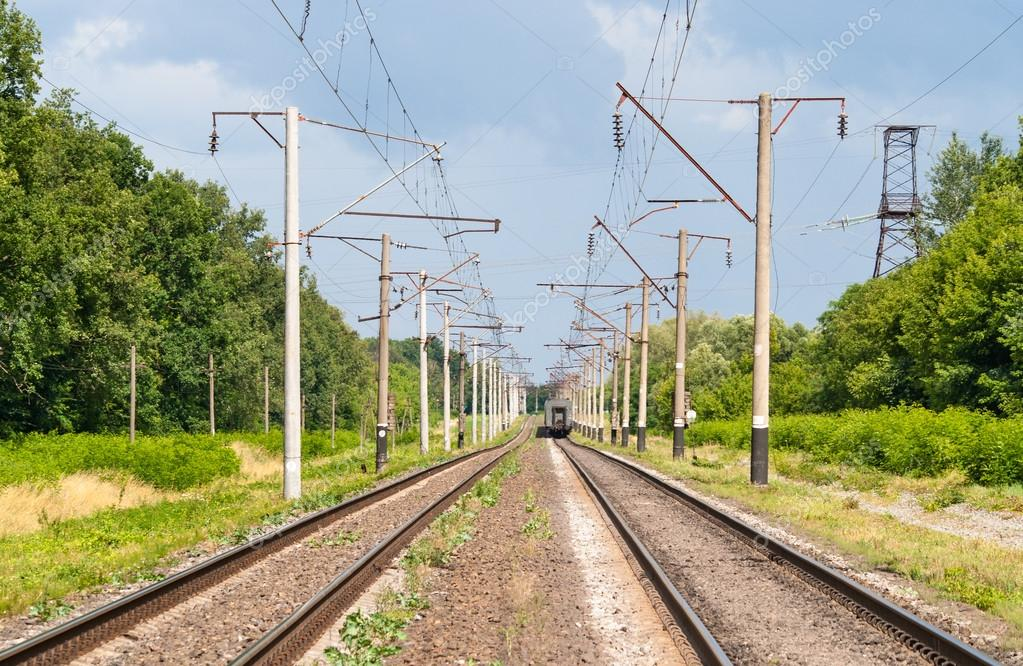 Double-track electrified (25 kV, 50 Hz) railway line — Stock Photo #13436486