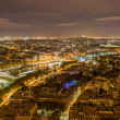 Paris and the Seine as seen from the Eiffel Tower. France - Stock Photo