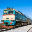 Stock Photo: Diesel local train in Ukraine.