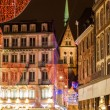 Christmas decorations on streets of Strasbourg. Alsace, France — Stock Photo #16920091