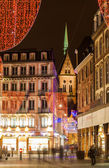 Christmas decorations on streets of Strasbourg. Alsace, France — Stock Photo