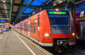 Suburban electric train at Stuttgart railway station. Germany — Stock Photo