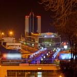 Night view of Odessa seaport. Ukraine — Stock Photo