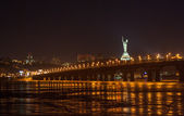 View of Paton bridge from the Left bank of Dnieper. Kiev, Ukrain — Stock Photo