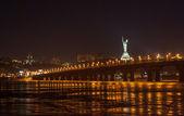 View of Paton bridge from the Left bank of Dnieper. Kiev, Ukrain — Stock Photo