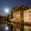 Moon over Ill river in Petite France area, Strasbourg - Alsace,  — Stock Photo