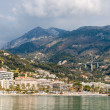 View of Ligurian Alps and Menton city from the Mediterranean Sea — Stock Photo