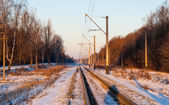 Single-track electrified (25 kV, 50 Hz) railway line in Ukraine — Stockfoto