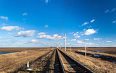 Single-track electrified (25 kV, 50 Hz) railway line in Ukraine — Foto de Stock