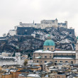 Salzburg Cathedral and Hohensalzburg Castle - Salzburg, Austia — Stock Photo