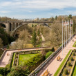 View of Constitution square and Adolphe Bridge in Luxembourg cit — Stock Photo #24966969