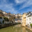 Luxembourg old city: Grund quarter and Alzette river — Stock Photo #24988243
