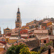 Menton city against the background of the Mediterranean sea - Fr — Stock Photo