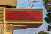 Illuminated indicator board of waiting time of trams in Strasbou — Stock Photo