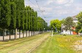 Tram tracks in Strasbourg - Alsace, France — Stock Photo