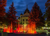 Fountain in front of State Theatre, Kosice, Slovakia — Stock Photo