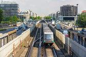 Driverless train on pneumatic wheels in Paris Metro — Stock Photo