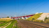 Overpass of new hi-speed railway LGV Est near Strasbourg - Franc — Stockfoto