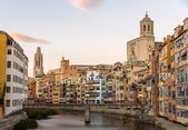 Girona Cathedral and Collegiate Church of Sant Feliu over river — Stock Photo