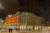Paradeplatz and Bahnhofstrasse in Zurich decorated for Christmas — Stock Photo