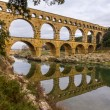 Pont du Gard, ancient Roman aqueduct, UNESCO site in France — Stock Photo