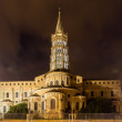 Basilica of St. Sernin by night in Toulouse, France — Stock Photo