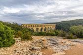 Pont du Gard, ancient Roman aqueduct, UNESCO site in France — Stock Photo