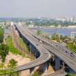 View of highway and railway bridges from a hill over the Dnieper — Stock Photo #49150877