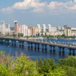 View of Paton Bridge and Left Bank of the Dnieper river in Kyiv, — Stock Photo #49151237