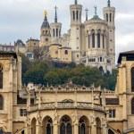 Cathedrale Saint Jean and Basilique Notre Dame de Fourviere in L — Stock Photo #49152545