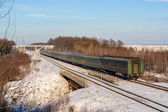Passenger train during wintertime in Ukraine — Stock Photo