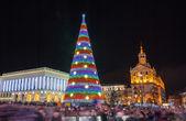 Christmas tree on Maidan Nezalezhnosti in Kiev, Ukraine — Stock Photo