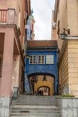 Narrow street in Warsaw old city - Poland — Stock Photo