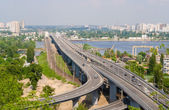 View of highway and railway bridges from a hill over the Dnieper — Stock Photo