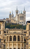 Cathedrale Saint Jean and Basilique Notre Dame de Fourviere in L — Stock Photo