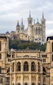 Cathedrale Saint Jean and Basilique Notre Dame de Fourviere in L — Stock Photo