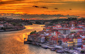 Dramatic sunset over Porto - Portugal — Stock Photo