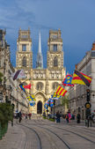 View of Orleans Cathedral from Jeanne d'Arc's street - France, C — Stock Photo