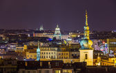 Night view from Prague town hall to National Museum — Stock Photo
