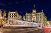 Tram passing Piazza Cordusio in Milan, Italy — Stock Photo