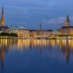Hamburg city center over the lake — Stock Photo #49227501